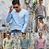 Men's V Neck Slim Fit T-shirt Casual Long Sleeve Soft Shirt Mens Spring Tops