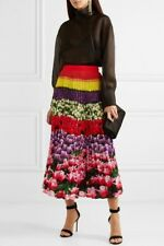 MARY KATRANTZOU Uni Pleated Floral-Print Crepe De Chine Midi Skirt 2019 US 6 10