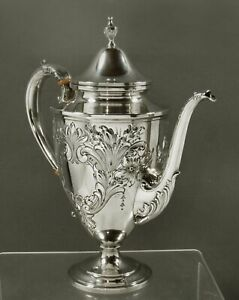 Whiting Sterling Coffee Pot            c1920 HAND DECORATED