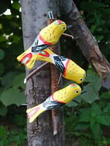 THREE YELLOW BIRDS Hand-carved folk art from Stryszawa in Southern Poland wood