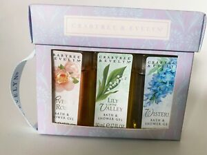 Crabtree & Evelyn Travel Gift Set Shower Gel Evelyn Rose Lily Of The Valley Wist