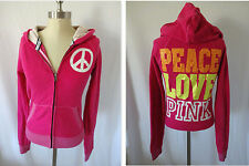 Victoria's Secret Love Pink S Small Rhinestone Full Zip Hoodie Jacket Peace Sign
