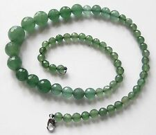 Bijou collier perles émeraudes naturelles attache plaqué or blanc 18k *4977