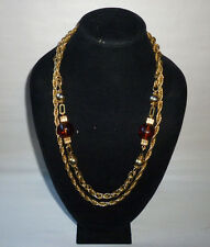 Vintage Multi Strand Amber Color Bead Gold Tone Chain Fashion Necklace - FN0150