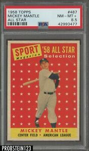 1958 Topps All Star #487 Mickey Mantle New York Yankees HOF PSA 8.5 NM-MT+
