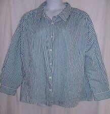 Roamans Plus Size 3X Green & White Striped Blouse