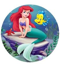 The Little Mermaid Ariel Round Edible Cake Topper 19cm - Can be Personalised