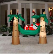 CHRISTMAS SANTA HAMMOCK TROPICAL PALM TREE  INFLATABLE AIRBLOWN YARD DECORATION