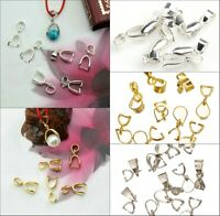 15pcs Silver/Golden Tone 18KGP Pinch Clip Bail Connector For Necklace Accessorie