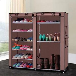 27 Pair Free Standing 6 Tier Shoe Tower Rack Organizer Cabinet with Cover 9 Grid