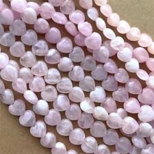 Pink Rose Quartz 14x13mm Heart Semi Precious Stone Beads Q2 8