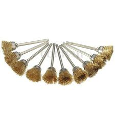 10Pcs Brass Wire Wheel Brush Compatible For Dremel Die Grinder Rotary Tool Kit