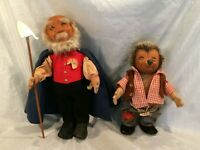 "1950""s Steiff Felt Dolls SHEPARD w Staff & MICKI Hedgehog with no tag Vntg Cond"