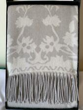 NEW Magaschoni 100% Cashmere Throw/Blanket Frost Grey/Vitnage White MSRP  $ 396
