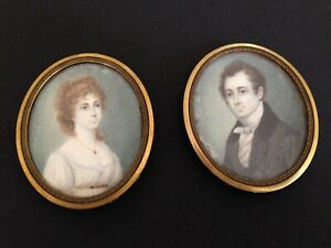 A Pair Of Antique Miniature Watercolor Portraits