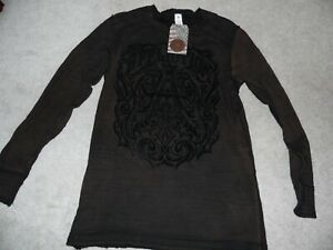 Affliction - Long Sleeve - Reversible Distressed - Black/Brown - Size XL - NWT