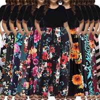 Women Summer Boho Floral Sundress Holiday Beach Party Long Maxi Dress Plus Size