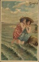Bathing Beauty Women Waves & Rock c1907 Embossed Postcard