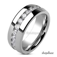 Men's 8mm Wide Stainless Steel Round Cut CZ Eternity Wedding Ring Band Size 9-13