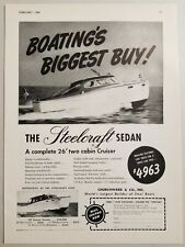 1949 Print Ad Steelcraft Sedan 26' Two Cabin Cruiser Boats West Haven,CT