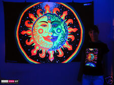 SUN + MOON Psychedelic Art UV Blacklight Tapestry Wall Hanging Backdrop Deco Goa