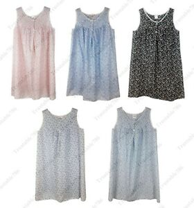 Ladies Women Printed Poly Cotton Sleeveless Nightdress UK Size 10-32
