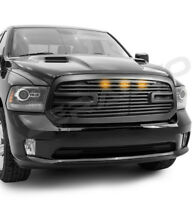Big Horn 2+LED Matte Black Packaged Grille+Shell Replacement for 13-18 RAM 1500