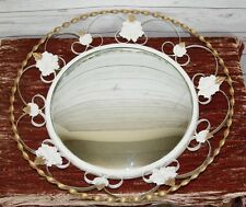 Circular Convex Vintage Wall Mirror White & Gold Wrought Iron Frame + Leaves