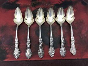 Set of 6 Sterling Silver Art Nouveau Patterned Grape Fruit Spoons Pat.1902
