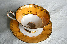 Queen Anne, orange and gold, Tea Cup and Saucer Set 1940s