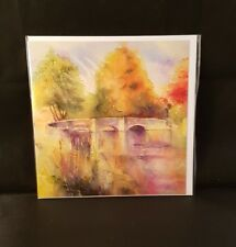 Sheila gill Ashford in the water bridge artistic blank open greeting card