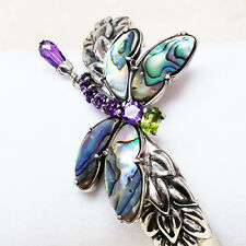 Carolyn Pollack Sterling Silver Abalone Doublet Dragonfly Bracelet Cuff QVC $334