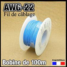 22B100# fil de câblage awg22 0,34mm²   100m bleu modélisme électronique..