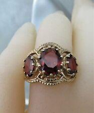 9ct Gold & 3 Stone Garnet Ring. Size M Top Quality. xadeod