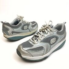 ✅❤️✅$ Skechers Shape Ups Women Shoes Silver/ Blue Fitness Walking 10 Eu40 Rocker