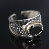 925 Sterling Silver Handmade Gemstone Turkish Onyx Ladies Ring Size 6-10