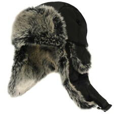 Firetrap Trapper Hat Beanie Faux Fur Padded Cap Black Retro Winter Gift