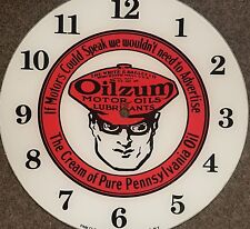 "*NEW* 14.25"" RD OILZUM EARLY STYLE GLASS FACE PAM CLOCK gas oil"