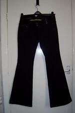 Size 12R 32L Black Cotton Stretch Low Rise Skinny Kick Flare RIVER ISLAND JEANS
