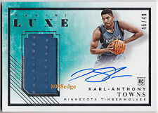 2015-16 PANINI LUXE ROOKIE SWATCH AUTO: KARL-ANTHONY TOWNS #46/49 RC AUTOGRAPH