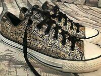 Converse All Star Metallic Black & Gold LION Sneakers, Men's 7 / Women's 9, RARE