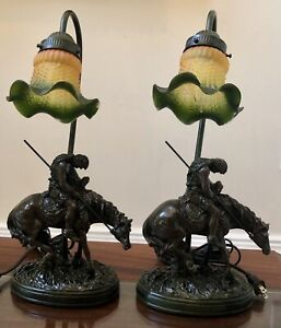 Rare PAIR! Vintage Native American Indian Table Lamp Sculpture Signed Crosa 1997