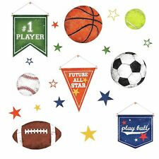 20 Sports Ball Wall Decals Soccer tennis Baseball Kids Play Room Stickers Decor