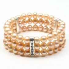 2018 3 row AAA 7-8mm pink freshwater genuine cultured pearl bracelets 7.5""