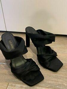 Senso Black Satin Ribbon Mules Size 38