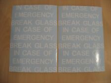 IN CASE OF EMERGENCY BREAK GLASS ADHESIVE VINYL STICKERS FOR CRAFT FRAMES WHITE