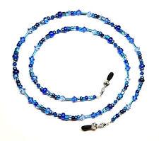 Sapphire Austrian Crystal Blue Bead Mix Eyeglass Chain