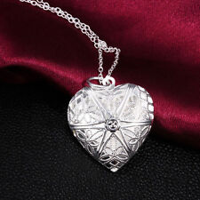 Love Heart Locket Chain Hot New Elegant Fashion Silver Plated Necklace Pendant