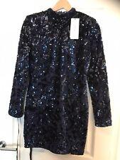 Club L Long Sleeved Blue Sequin Mini Dress Size 12