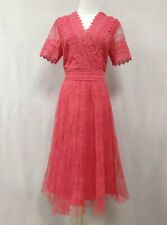 AUTH Ted Baker SONYYIA V neck lace midi dress CORAL 0-5